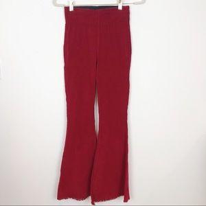 Pants - BURGUNDY THIN CORDUROY STRETCH FLARE PANTS SZ XS